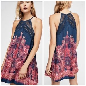 Free People Shea Printed Lace Dress Navy Blue